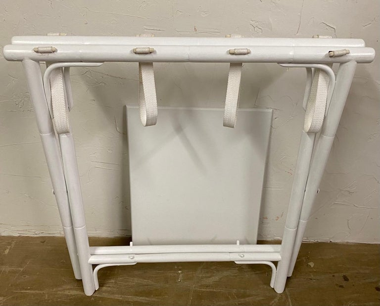 Mid-Century Modern Painted Faux Bamboo Luggage Rack For Sale