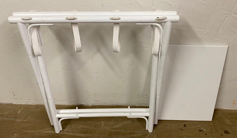 American Painted Faux Bamboo Luggage Rack For Sale
