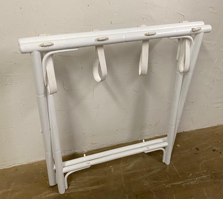 Painted Faux Bamboo Luggage Rack In Good Condition For Sale In Great Barrington, MA