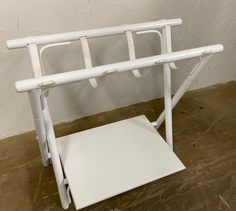 Contemporary Painted Faux Bamboo Luggage Rack For Sale