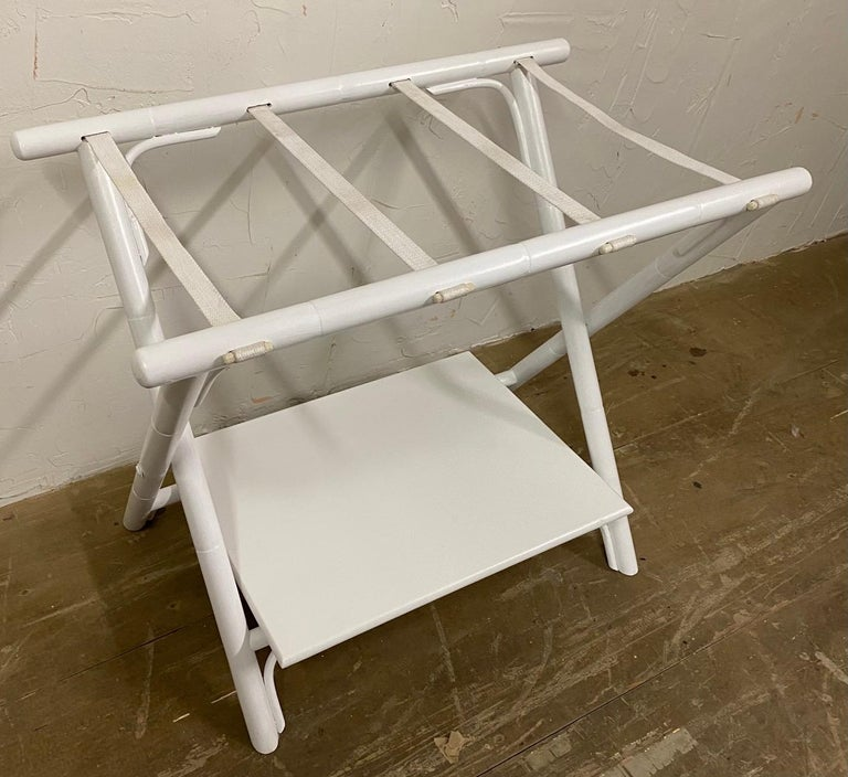 Wood Painted Faux Bamboo Luggage Rack For Sale