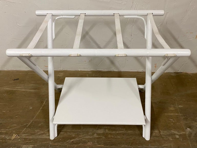 Painted Faux Bamboo Luggage Rack For Sale 1