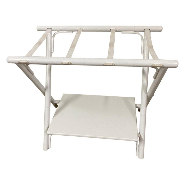 Painted Faux Bamboo Luggage Rack For Sale