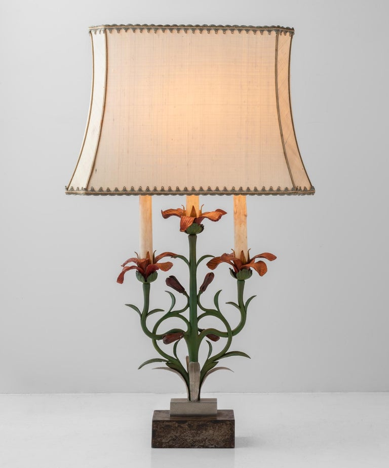 Painted floral cast iron table lamp, Italy, circa 1900.  Painted cast iron with unique detailing and original shade.