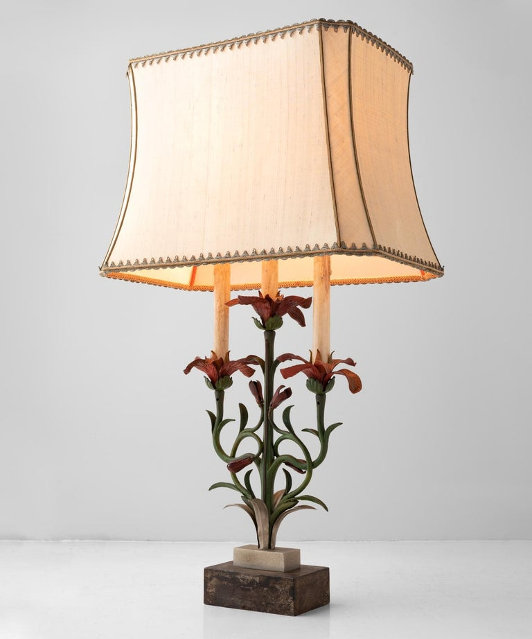Italian Painted Floral Cast Iron Table Lamp, Italy, circa 1900 For Sale