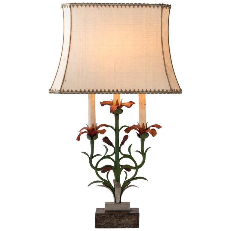 Painted Floral Cast Iron Table Lamp, Italy, circa 1900 For Sale