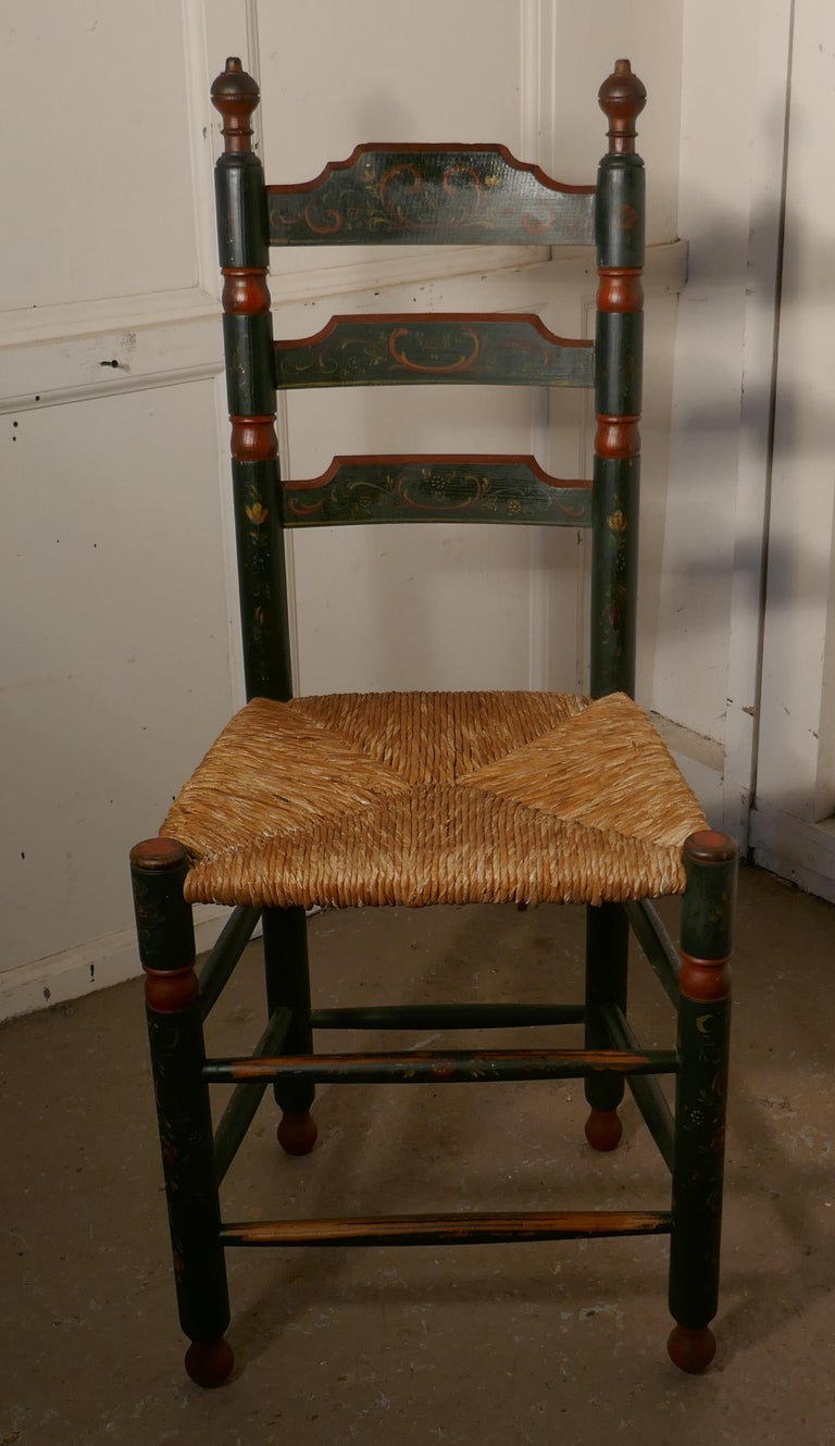Painted Folk Art European Ladder Back Chair For Sale At