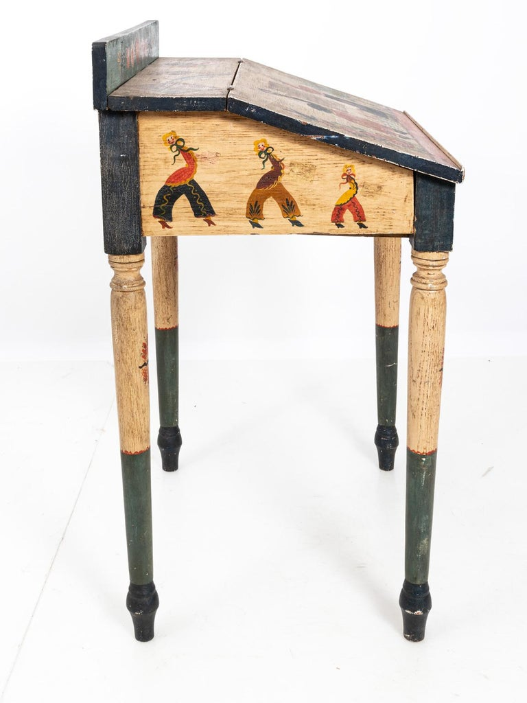 Painted Folk Art Writing Table For Sale 5