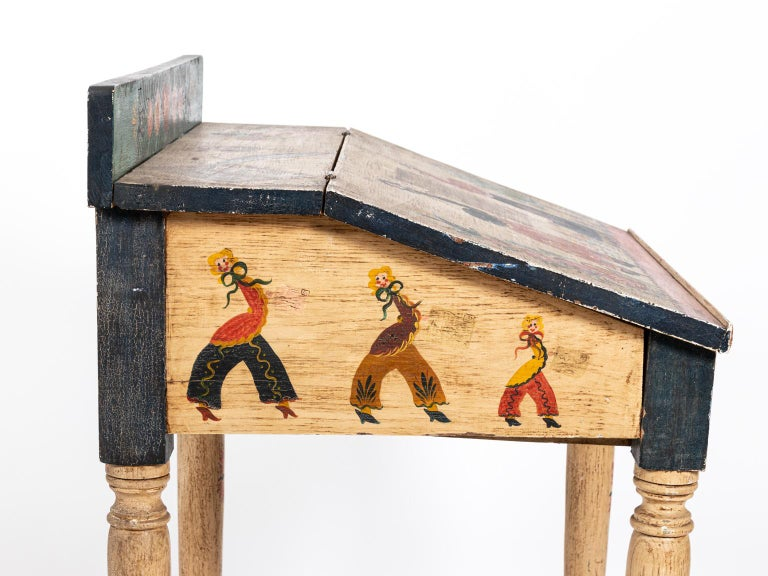Painted Folk Art Writing Table For Sale 6