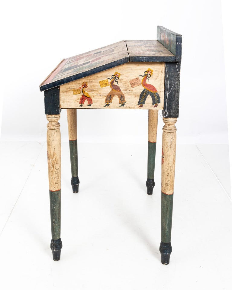 Painted Folk Art Writing Table For Sale 9