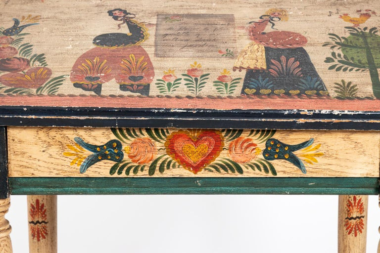 20th Century Painted Folk Art Writing Table For Sale