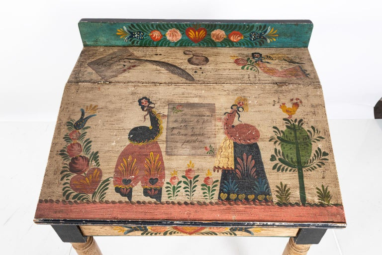 Wood Painted Folk Art Writing Table For Sale