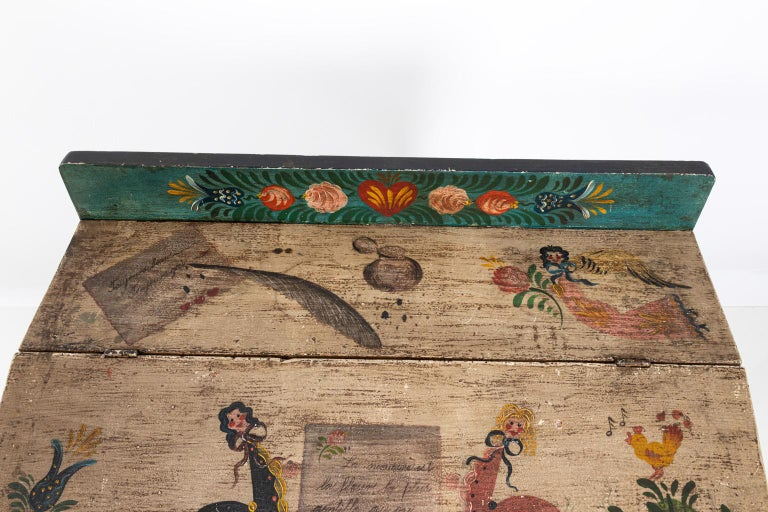 Painted Folk Art Writing Table For Sale 1