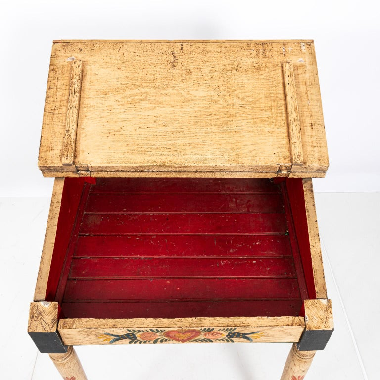 Painted Folk Art Writing Table For Sale 2