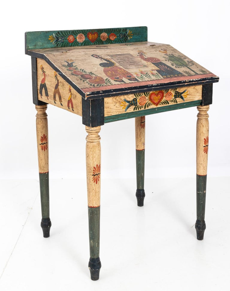 Painted Folk Art Writing Table For Sale 3