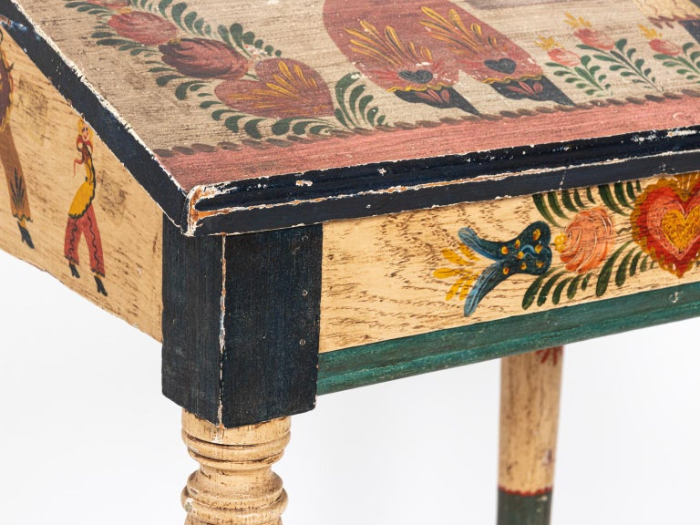 Painted Folk Art Writing Table For Sale 4