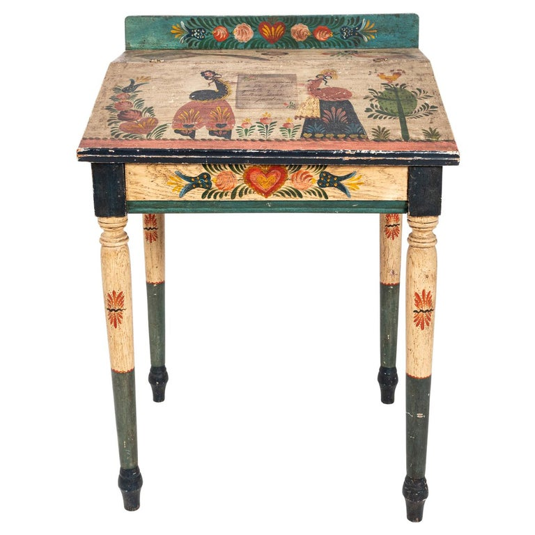 Painted Folk Art Writing Table For Sale
