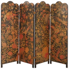 Painted Four-Panel Papered Folding Screen