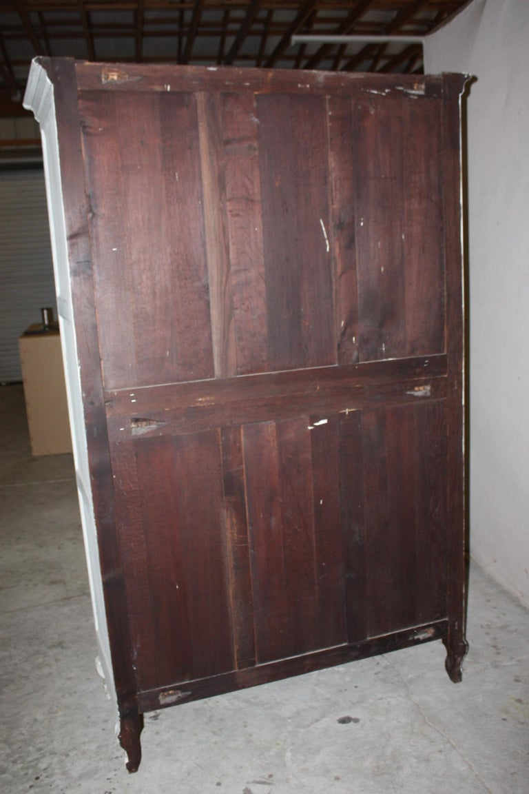 Painted French Armoire with Screen For Sale 5