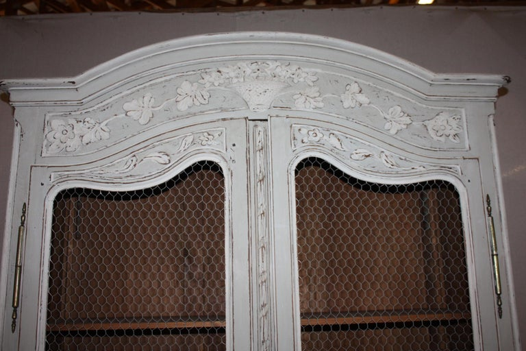 20th Century Painted French Armoire with Screen For Sale