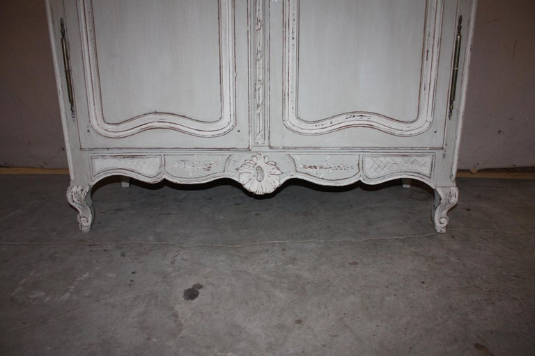 Oak Painted French Armoire with Screen For Sale