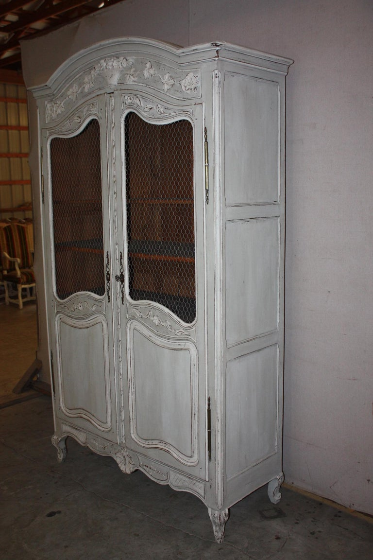 Painted French Armoire with Screen For Sale 1