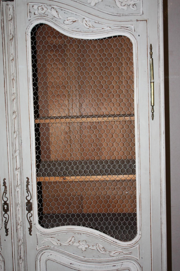 Painted French Armoire with Screen For Sale 2