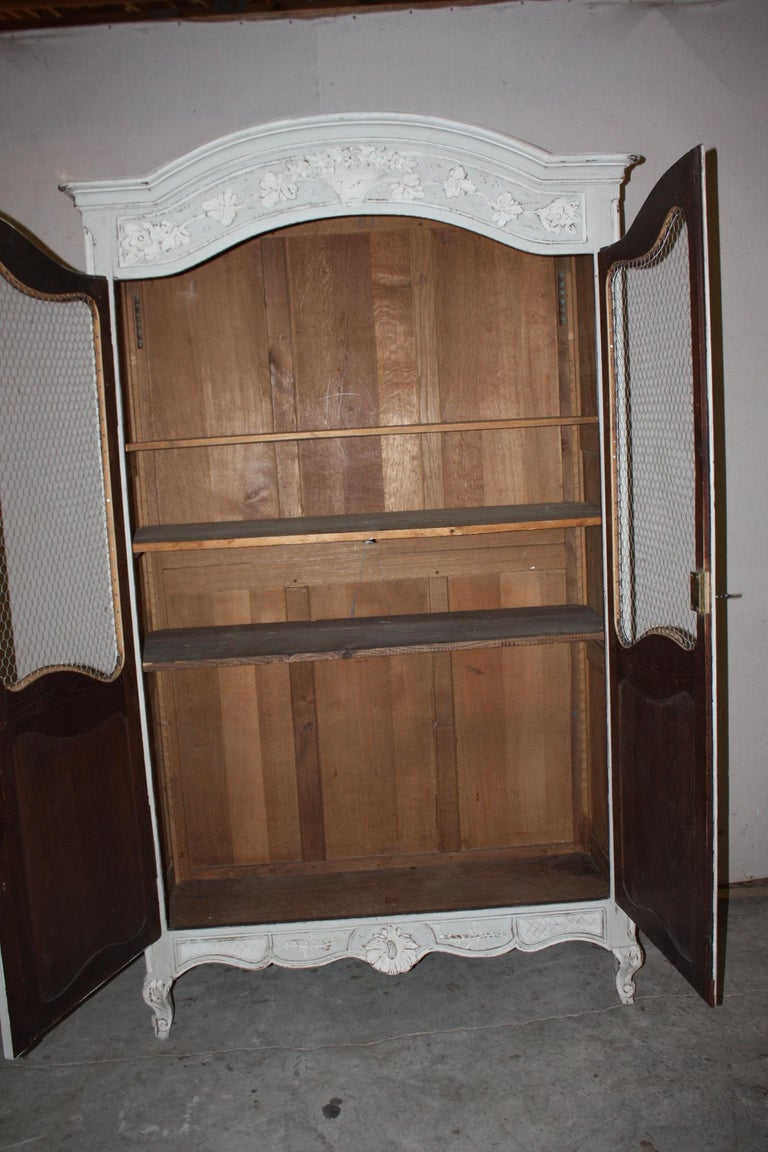 Painted French Armoire with Screen For Sale 3