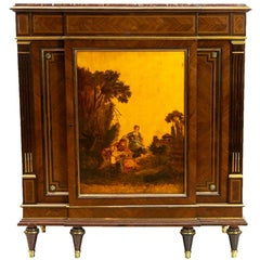 Painted French Inlaid Marble Top Cabinet