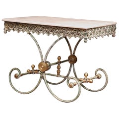 Painted French Iron and Brass Butcher or Pastry Table with Marble Top