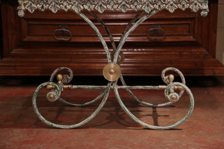 Painted French Iron Butcher or Pastry Table with Marble Top and Brass Finials For Sale 5