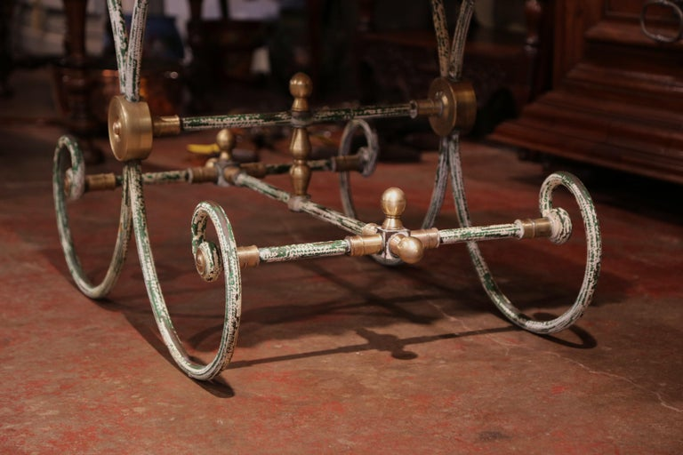 Painted French Iron Butcher or Pastry Table with Marble Top and Brass Finials For Sale 6
