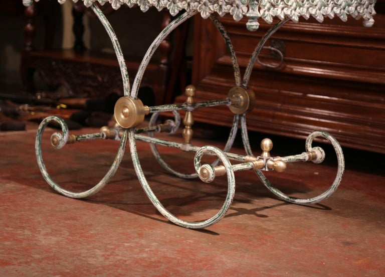 Hand-Crafted Painted French Iron Butcher or Pastry Table with Marble Top and Brass Finials For Sale