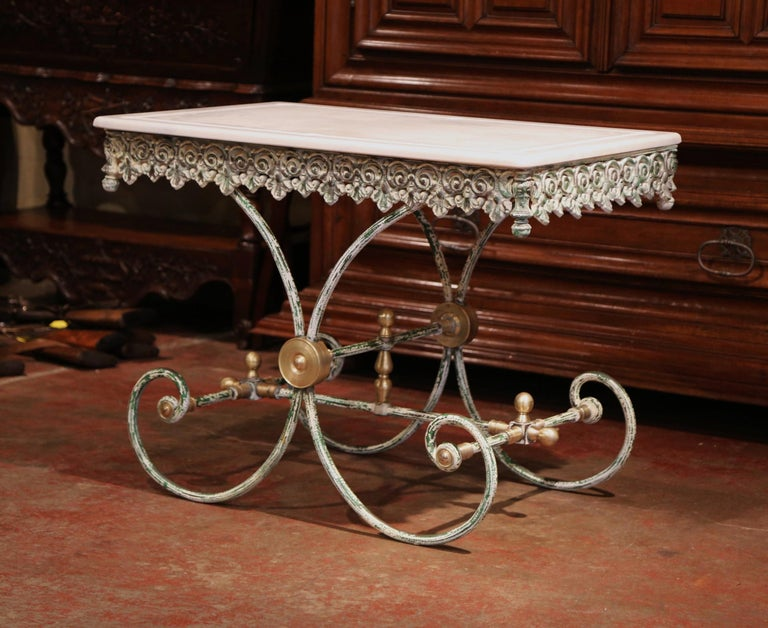 Painted French Iron Butcher or Pastry Table with Marble Top and Brass Finials In Excellent Condition For Sale In Dallas, TX
