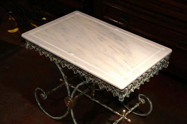 Contemporary Painted French Iron Butcher or Pastry Table with Marble Top and Brass Finials For Sale