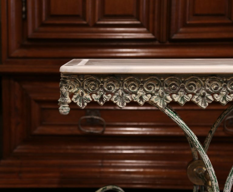 Painted French Iron Butcher or Pastry Table with Marble Top and Brass Finials For Sale 1