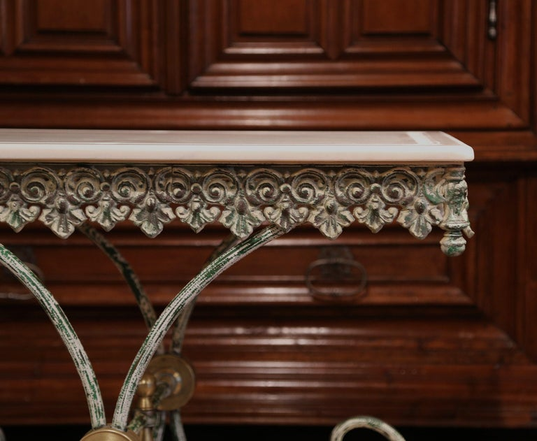 Painted French Iron Butcher or Pastry Table with Marble Top and Brass Finials For Sale 2