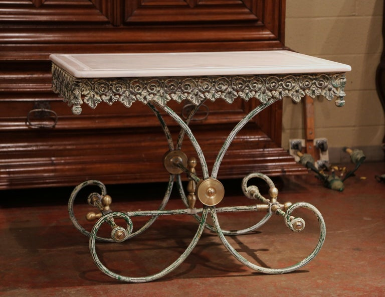 Painted French Iron Butcher or Pastry Table with Marble Top and Brass Finials For Sale 4