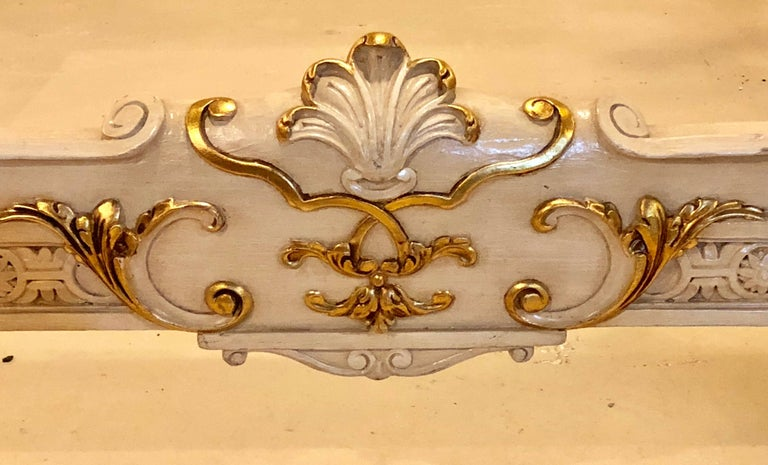 Painted French Louis XVI Style Headboard and Footboard Manner of Maison Jansen In Good Condition For Sale In Stamford, CT