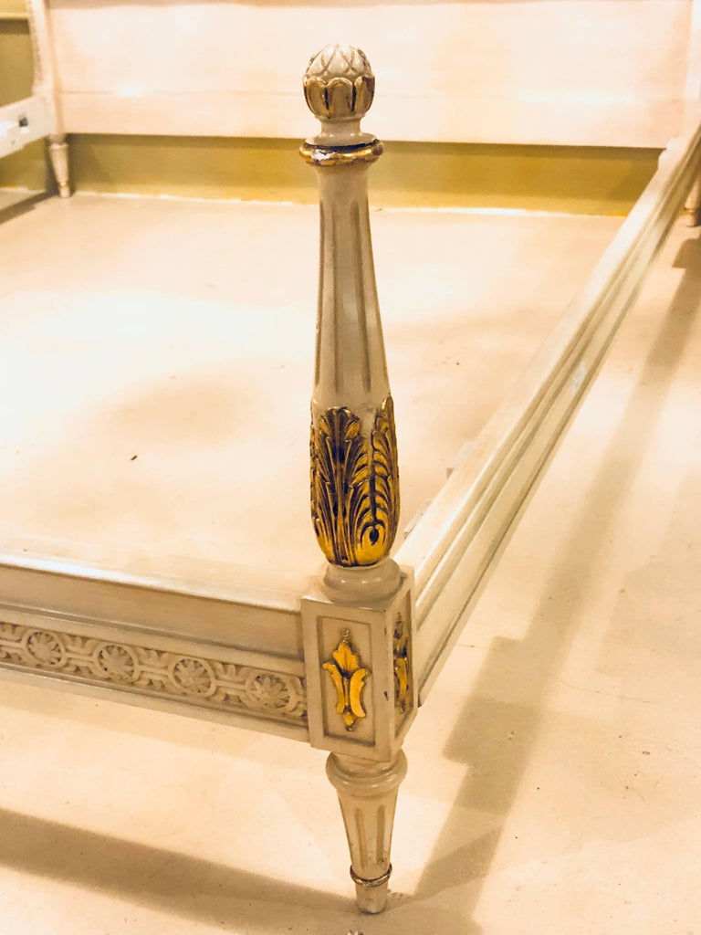 Wood Painted French Louis XVI Style Headboard and Footboard Manner of Maison Jansen For Sale