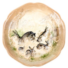 Painted French Majolica Bunny Plate
