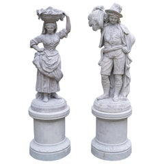 Painted French Pair of Terracotta Pastoral Figures