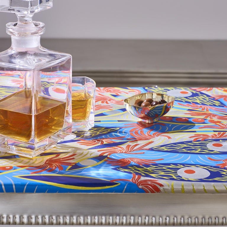 Artist Alice Saey has customized a colorful French pewter countertop, or a console top, that would make a cheery addition to a club, cocktail bar, beach bar or the home of a private art collector. This practical and functional piece is indisputably