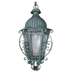 Painted French Wrought Iron Lantern with Domed Shaped Top, circa 1930s