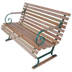 Painted Garden Bench with New Mahogany Wood Slats