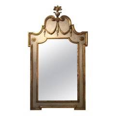 Painted & Gilded Carved Italian Mirror
