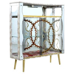 Painted Glass and Mirror Midcentury Deco Regency Glam Gold Accent Curio Cabinet