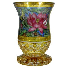Bohemian Goblet in the Style of 19th Century Glass Yellow Lazure