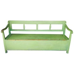 Painted Green Bench with Storage, France, 19th Century