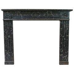 Painted Hand Carved Louis XVI Style Mantle